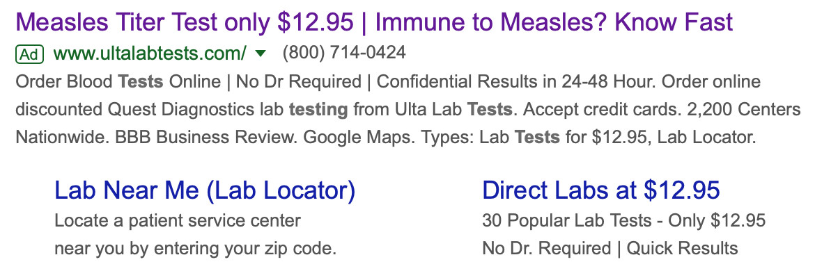 Google Ad for Titer Testing!