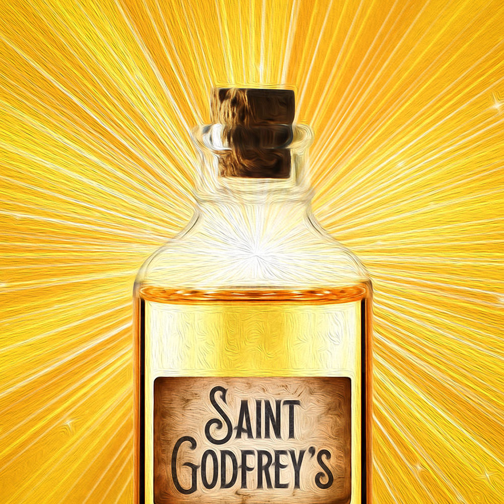 A bottle which says Saint Godfrey's and is glowing with a bright golden light.