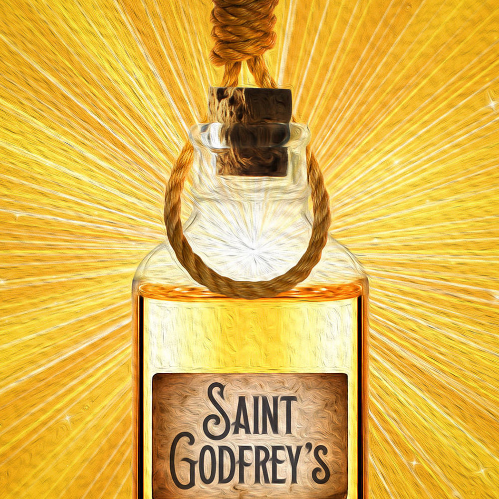 A bottle which says Saint Godfrey's and is glowing with a bright golden light and a noose is hanging over the top of the bottle.