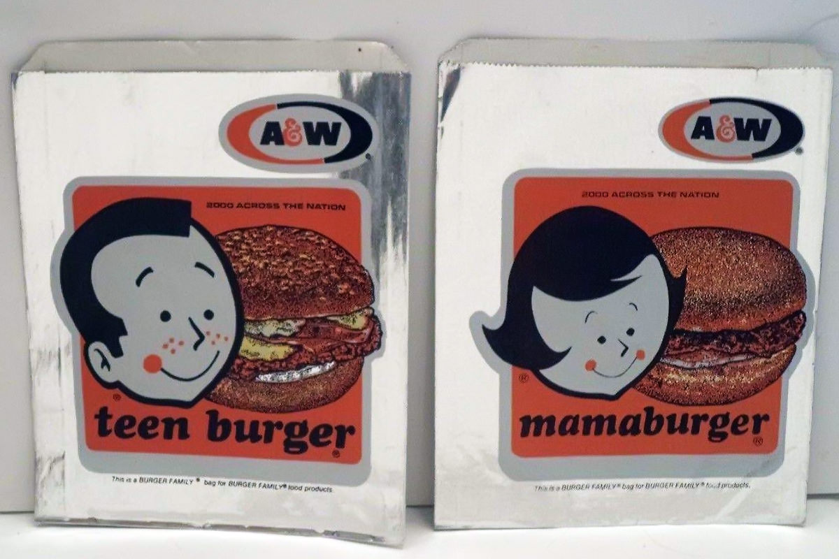 Two vintage foil hamburger bags from A&W... a Momma.