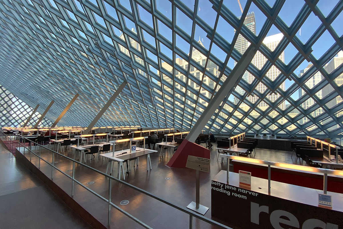 Inside the Seattle Public Library.