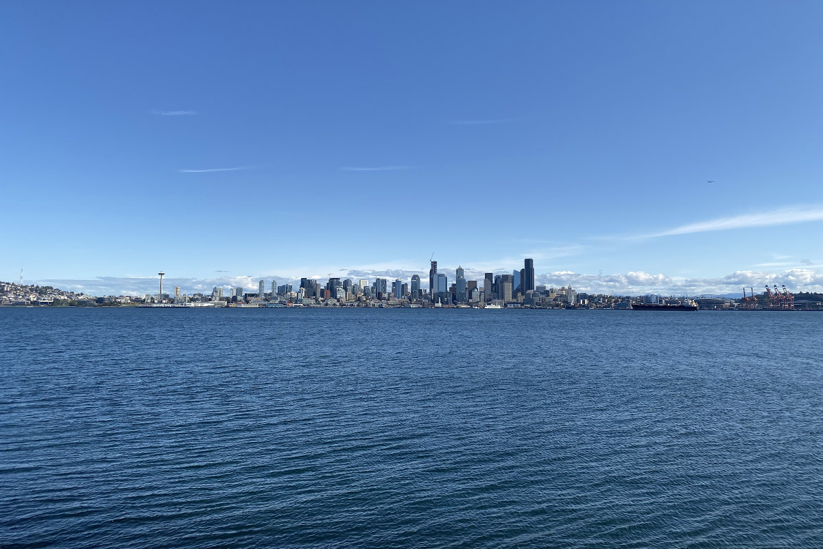 Seattle skyline as seen from Alki Point across the water.