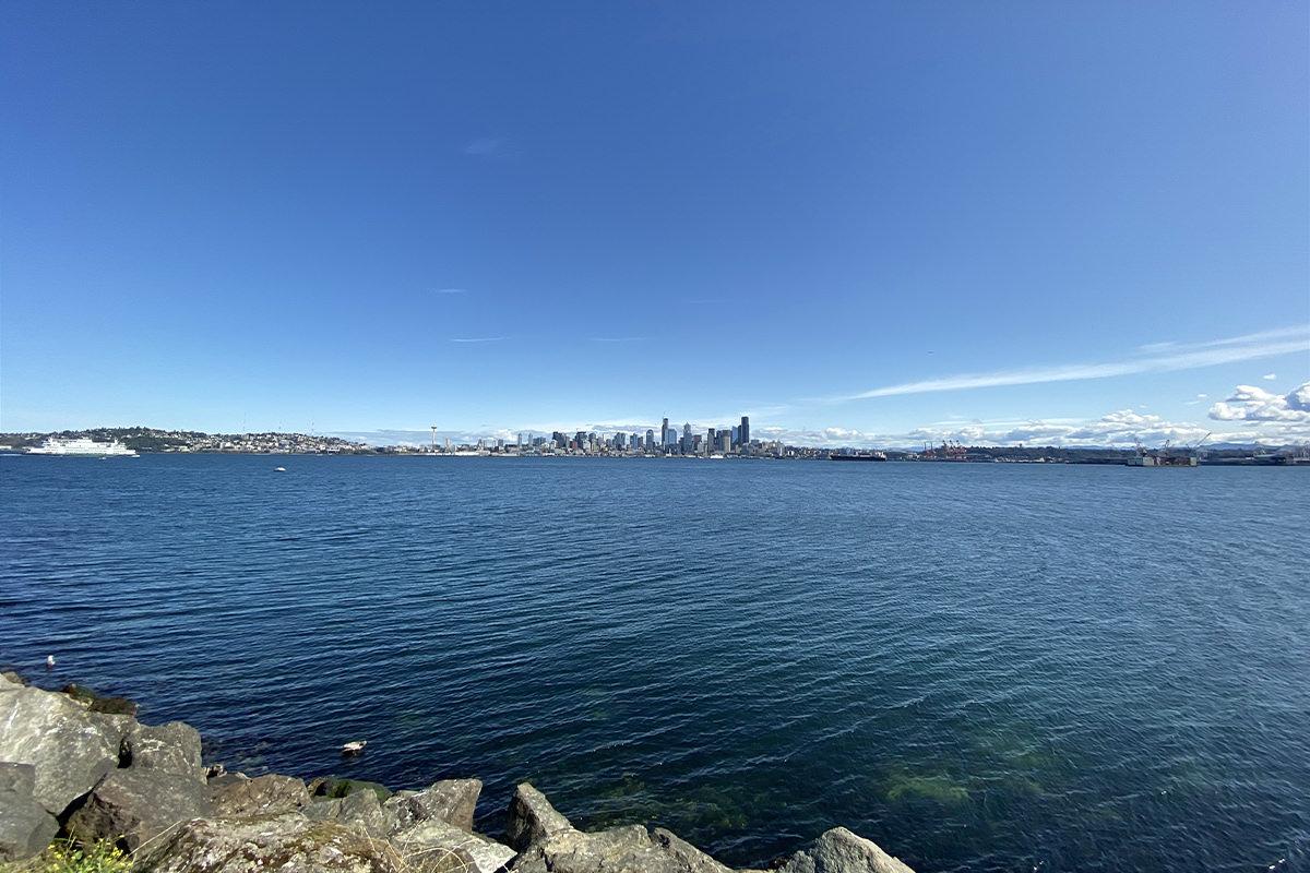 Seattle skyline as seen from Alki Point across the water.