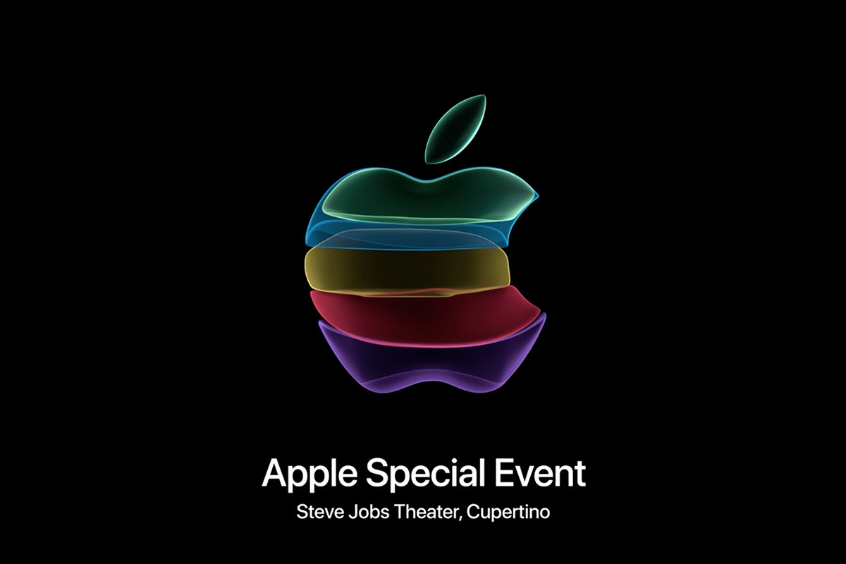Apple Event screen showing the Apple logo constructed from transparent pastel-colored ribbons.