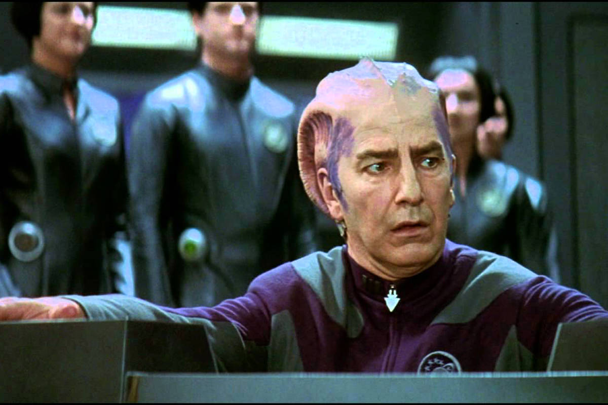 Alan Rickman in his alien makeup for Galaxy Quest.
