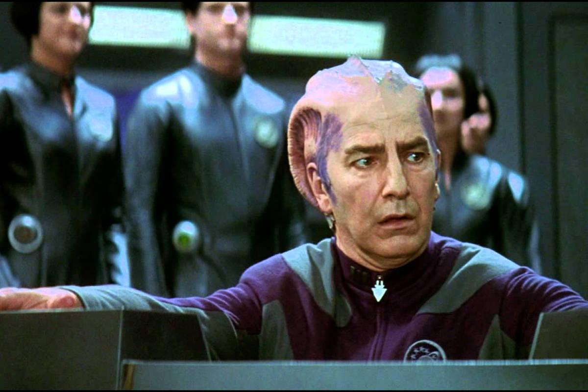 Alan Rickman in his alien makeup for Galaxy Quest.