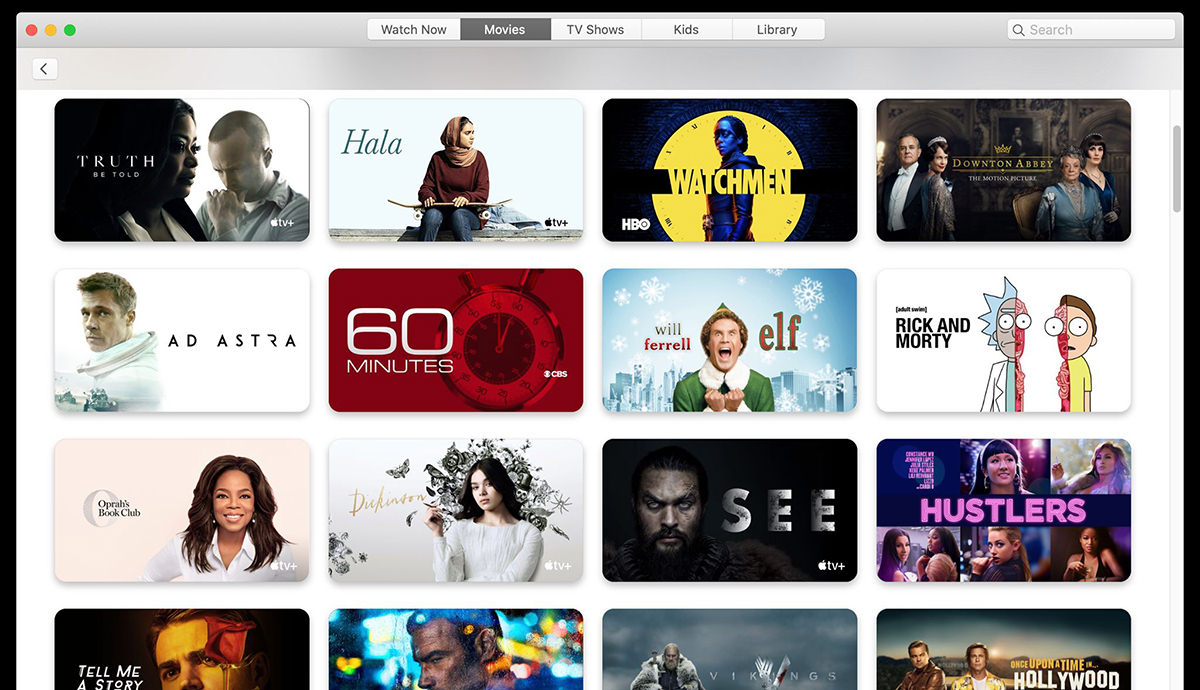 Apple TV menu for movies showing mostly NOT MOVIES!