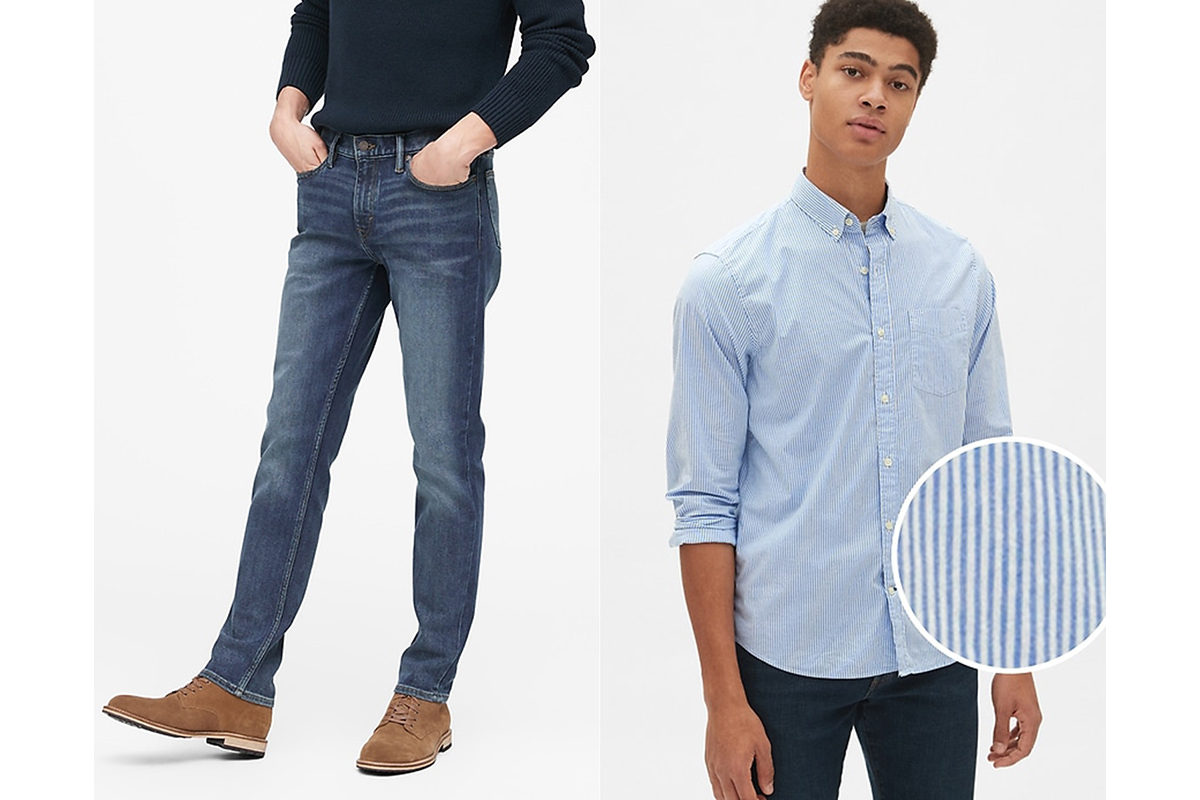 Banana Republic slim-fit jeans on some guy with brown boots and a sweater shirt. And a long-sleeved poplin shirt on some other guy.