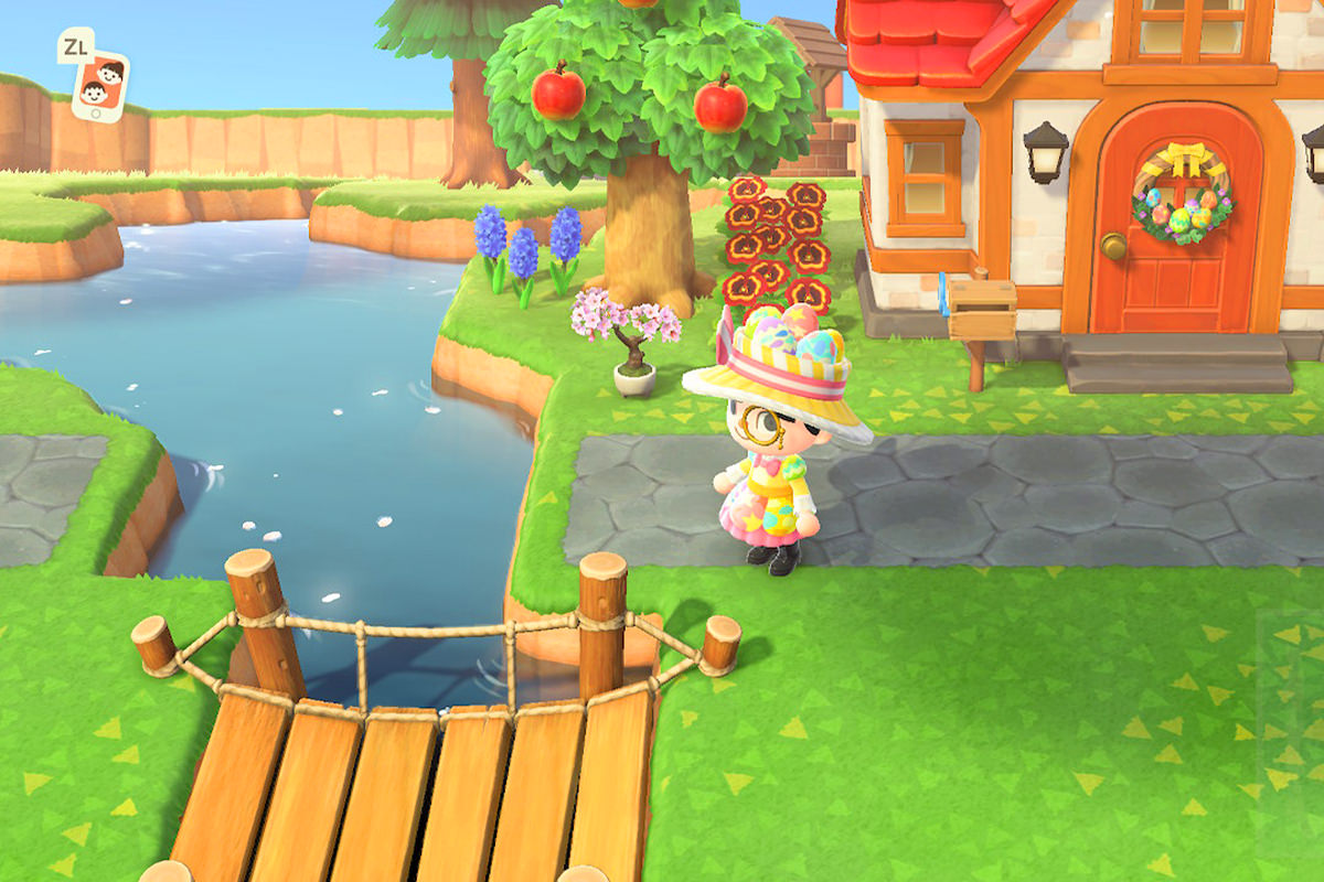 My character in Animal Crossing wearing a pretty Spring dress and matching hat with army boots looking in dismay at a bridge that doesn't match up to a road and will have to be moved.