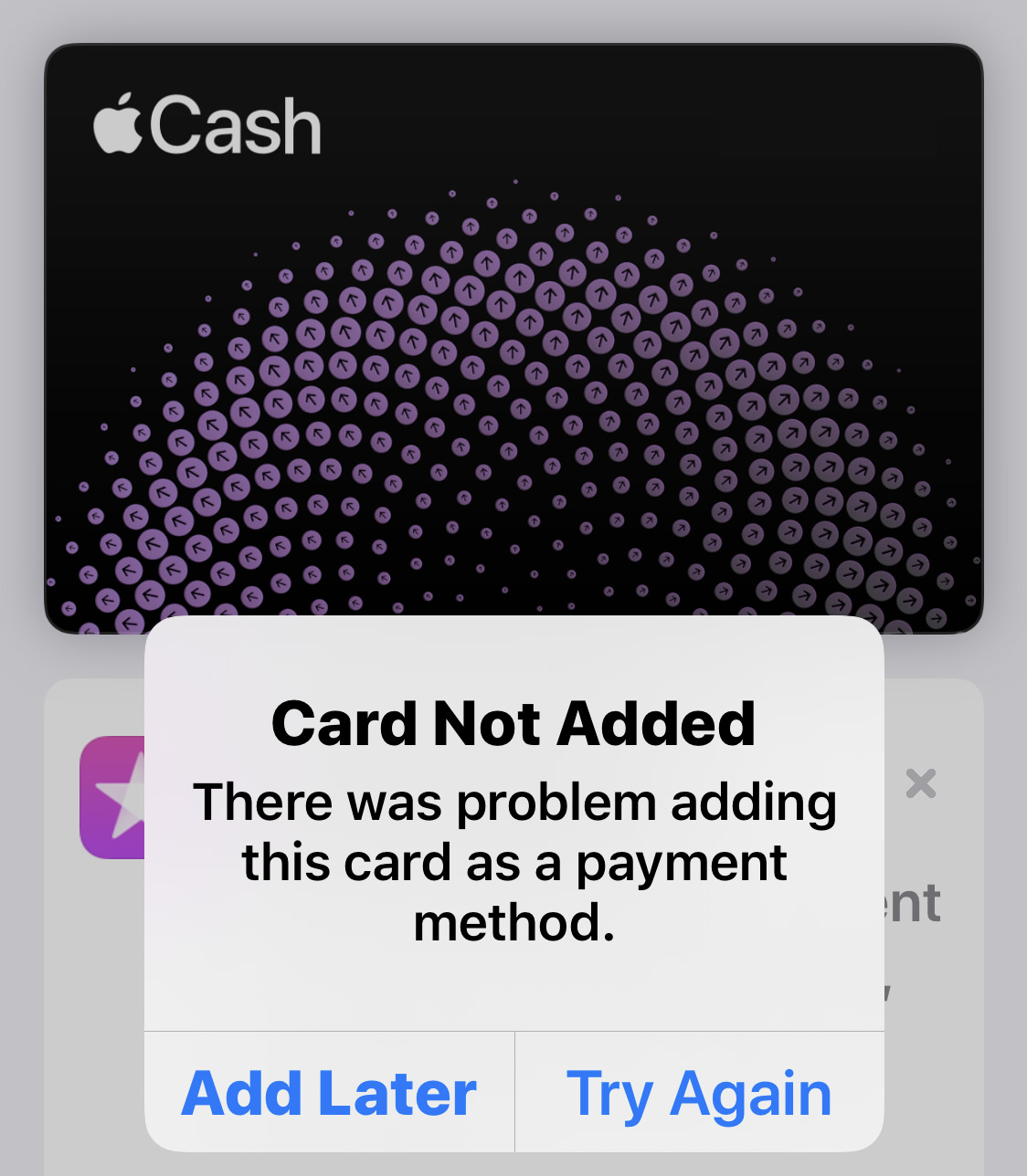 Error messag telling me that There was a problem adding the card as a payment method.