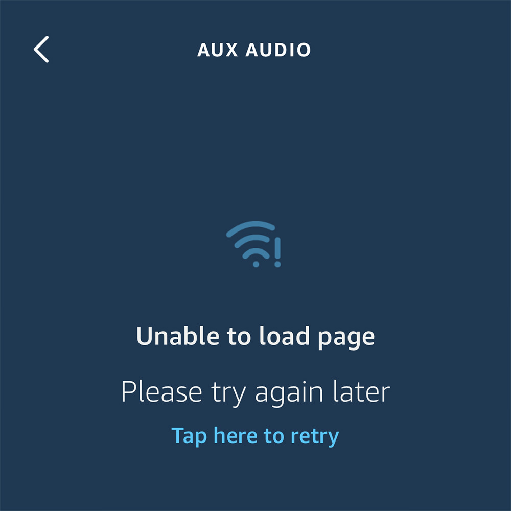 An Amazon Echo error message saying that the page cannot be loaded and to please try again later.