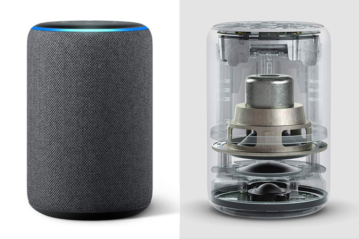 An Amazon Echo cylidner plus a cutaway view showing the speaker array inside.