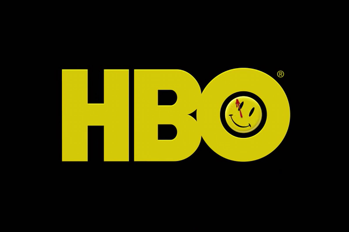 The HBO logo with the Watchmen smiley button that has a happy face with a splotch of blood over the eye.