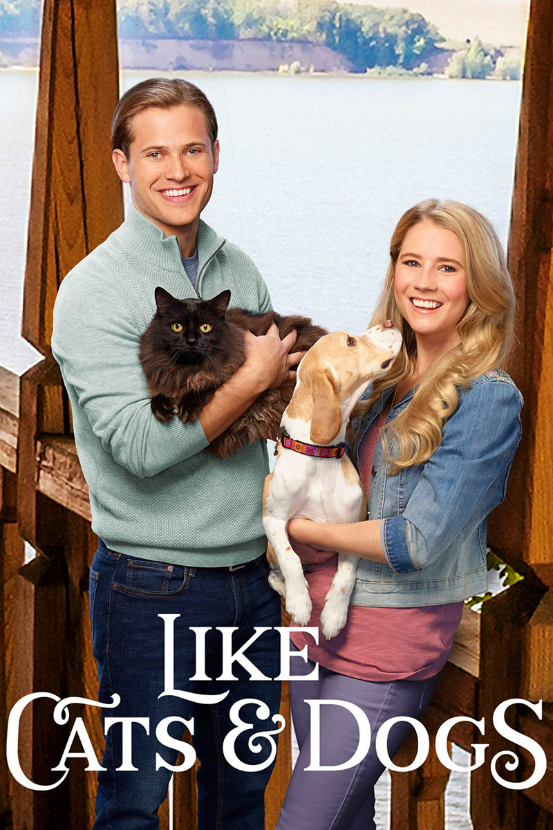 A movie poster for Like Cats and Dogs with a guy and his cat and a woman and her dog smiling and looking towards you.