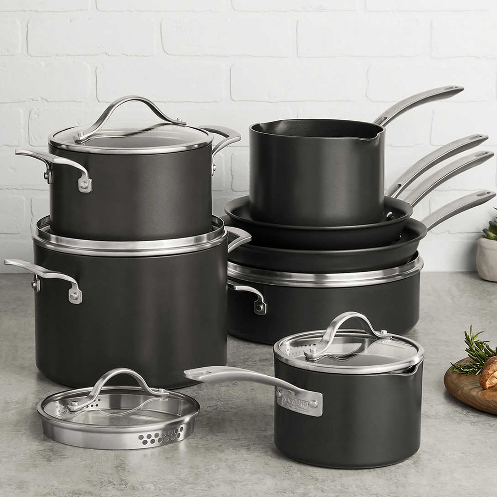 A photo of my new pots and pans, courtesy of Costco.