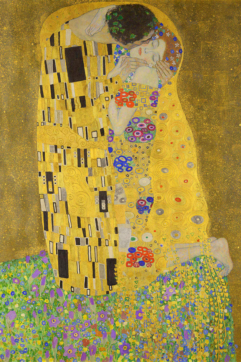 The famous Klimt painting The Kiss.