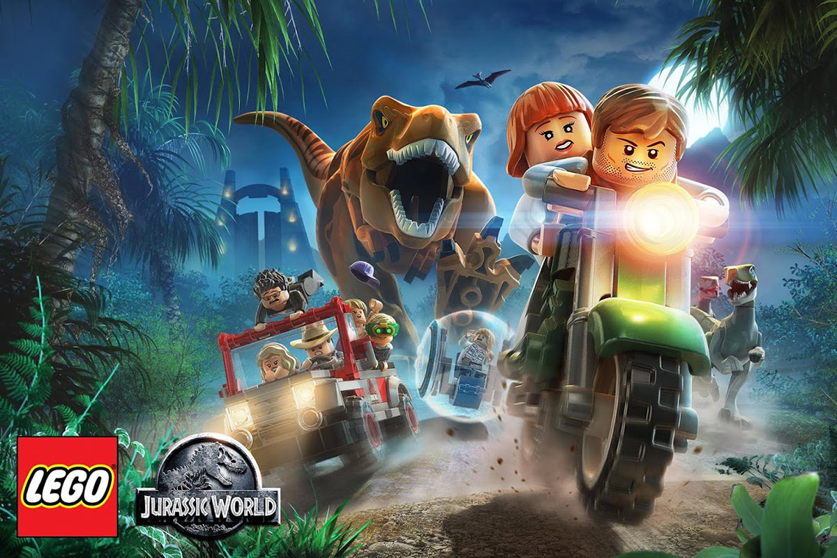 A scene from the LEGO Jurassic World video game showing LEGO characters in cars and motorcycles running from a LEGO T-Rex.