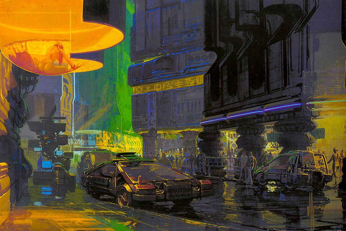 Syd Mead scene from Bladerunner showing a futuristic city street.