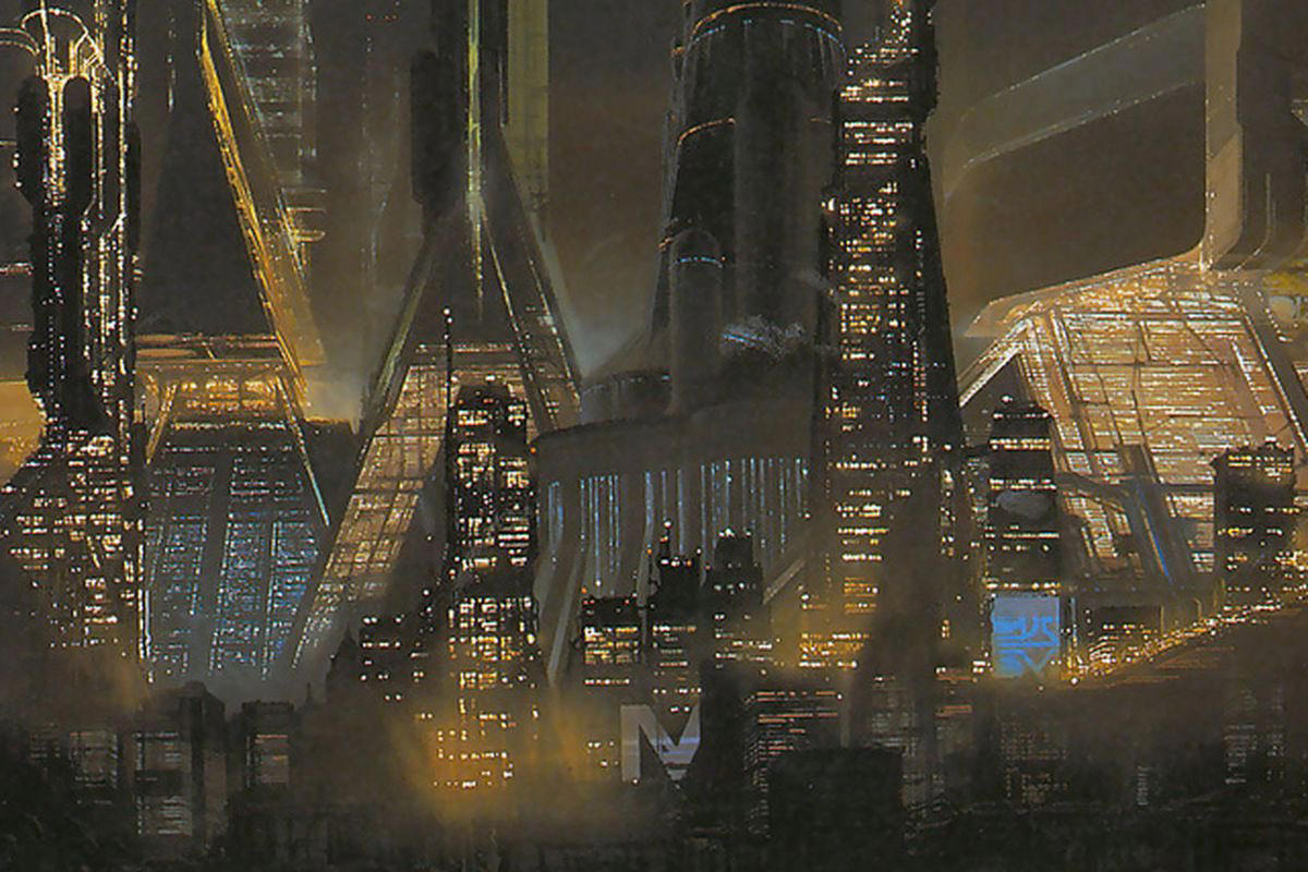 Syd Mead scene from Bladerunner showing a futuristic cityscape skyline awash in lights.