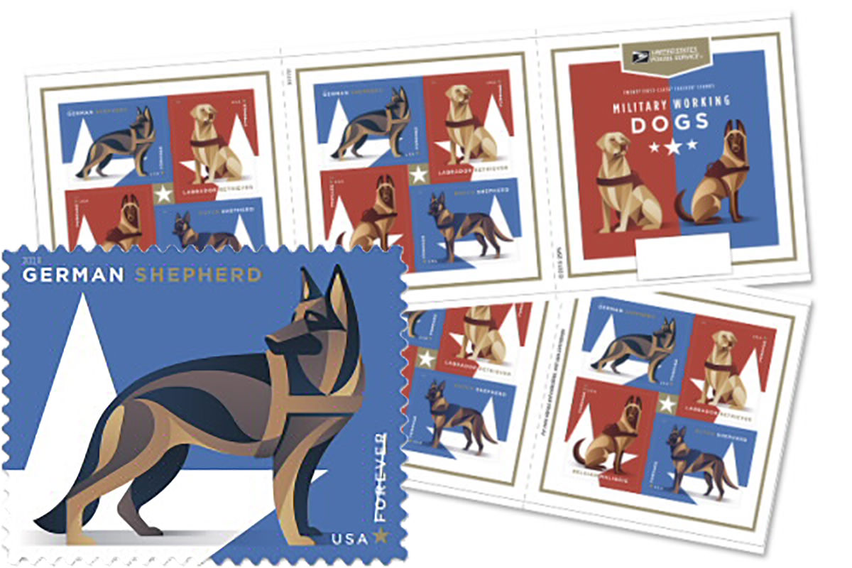 Military service dog stamps rendered in a cool graphical style... a stamp with a German Sheperd is featured.