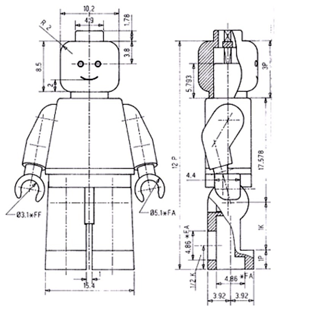 The technical drawing of the LEGO minifig.
