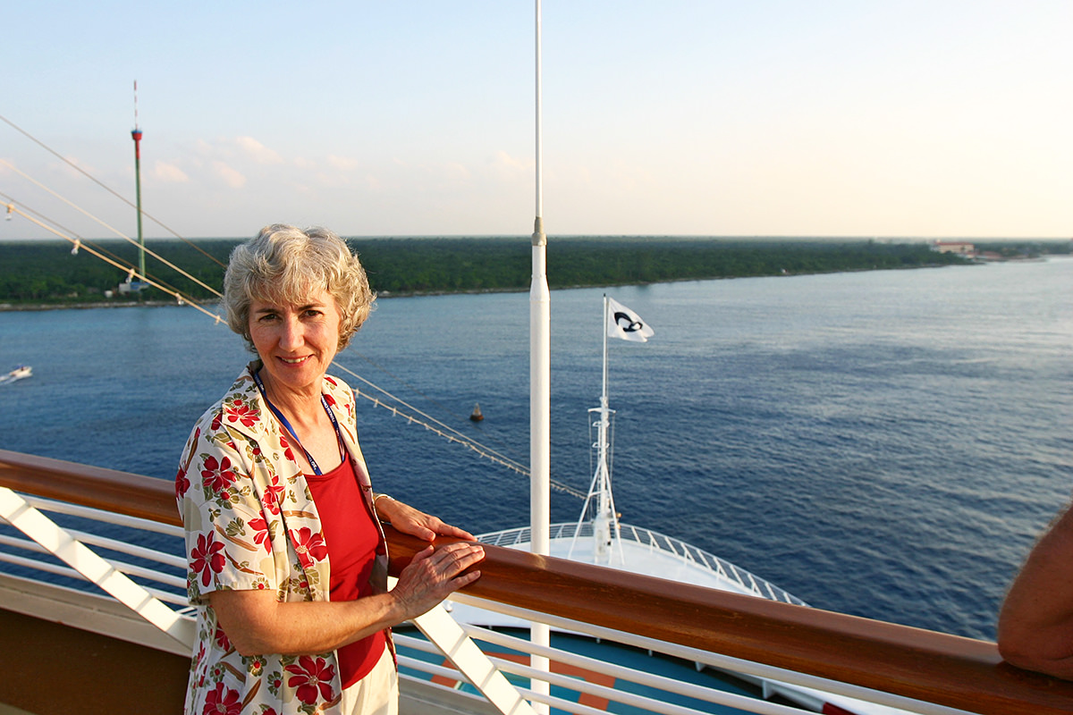 Mom aboard the Dawn Princess in the Caribbean