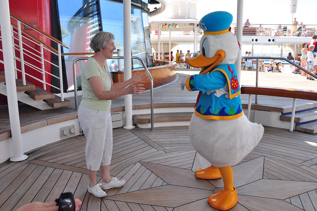 Mom aboard the Disney Magic in the Mediterranean