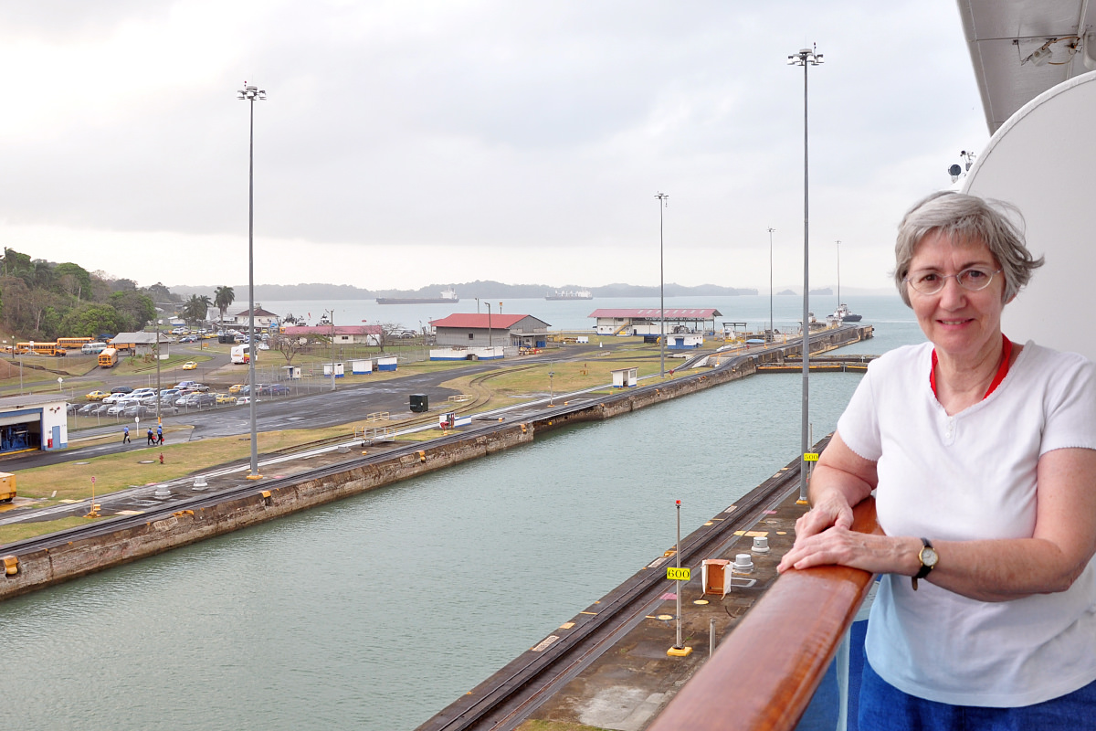 Mom aboard the Island Princess in the Panama Canal