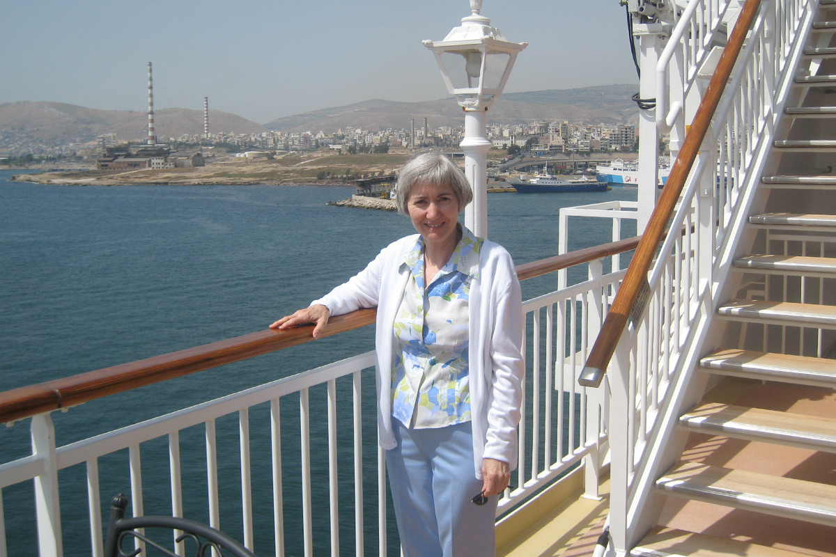Mom aboard the Norwegeian Jewel in the Mediterranean