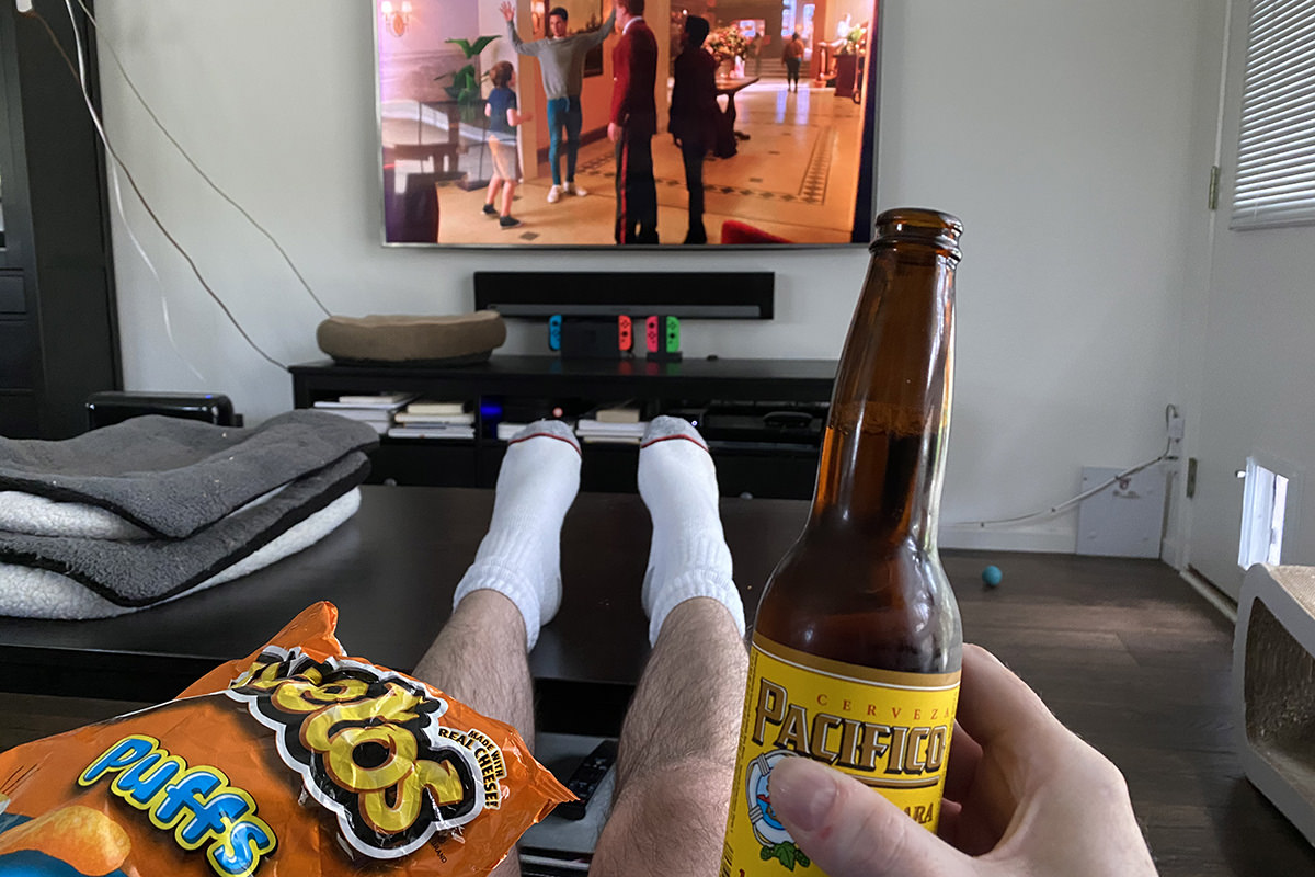 Me watching TV with a beer, Cheetos, and no pants.