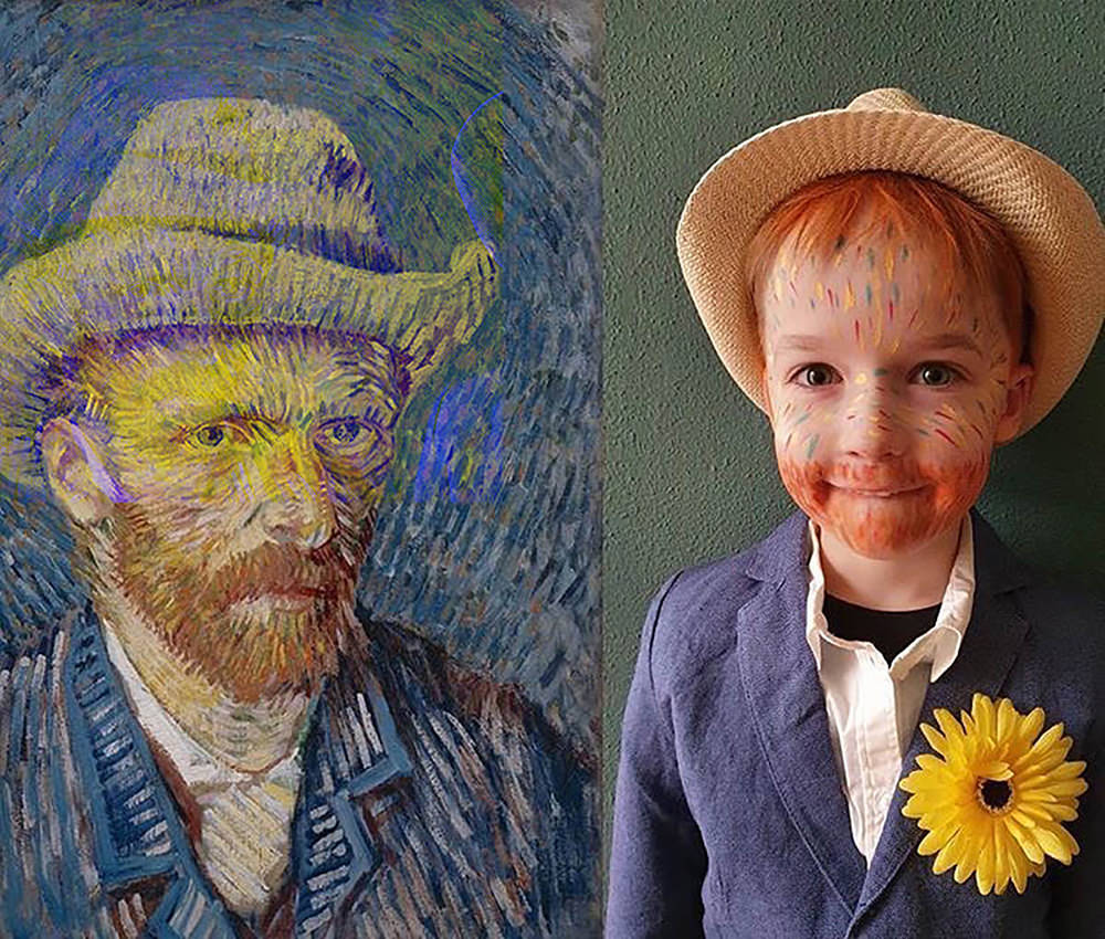 A young boy recreates a self-portrait by Vincent van Gogh.