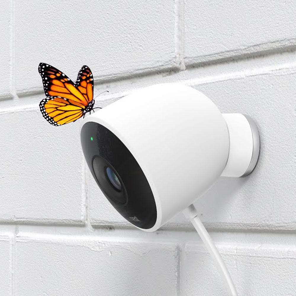 The Nest Outdoor Cam which is a sexy white thing with a lens on it... and a butterfly on top.