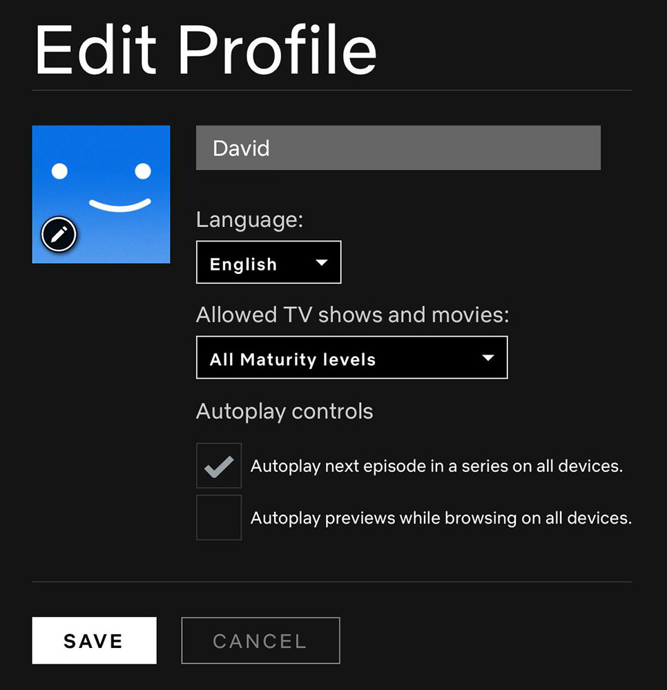 The preference panels in Netflix shwoing that you can disable the autoplay previews..