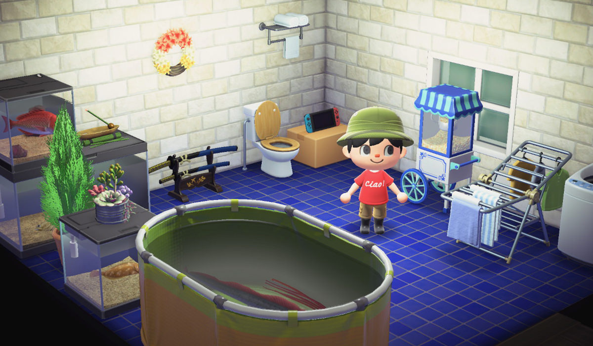 My character stands in a medium-sized room which is filled with various clutter and items.