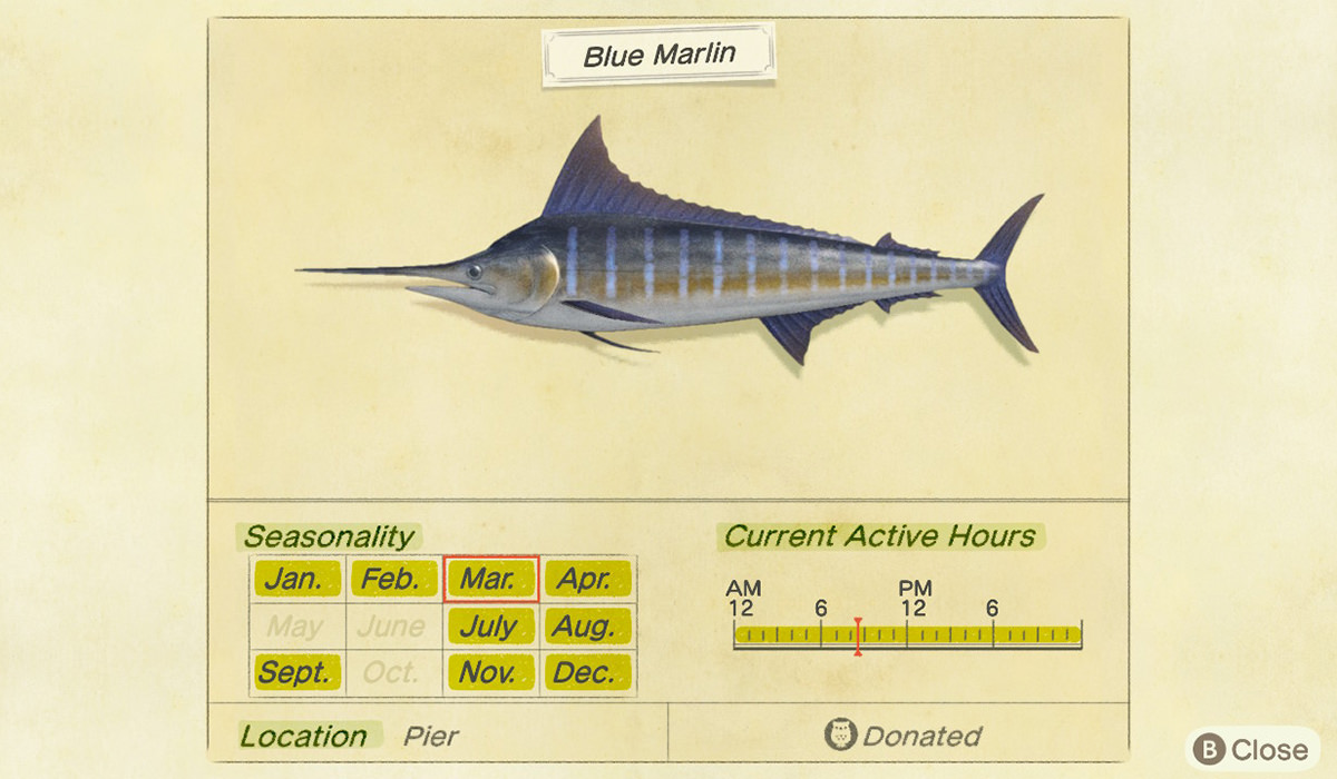 Critterpedia showing details of a swordfish I caught... including that it's been donated.