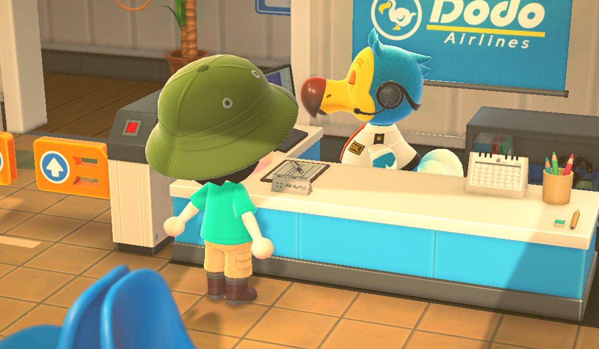My character taliking to Orville the Dodo at an airport ticket counter arranging a flight with Wilbur the Dodo to a neighboring island.