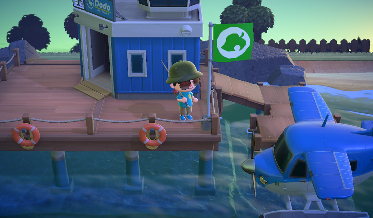 My character looking at the float plane which allows you to fly off the island.