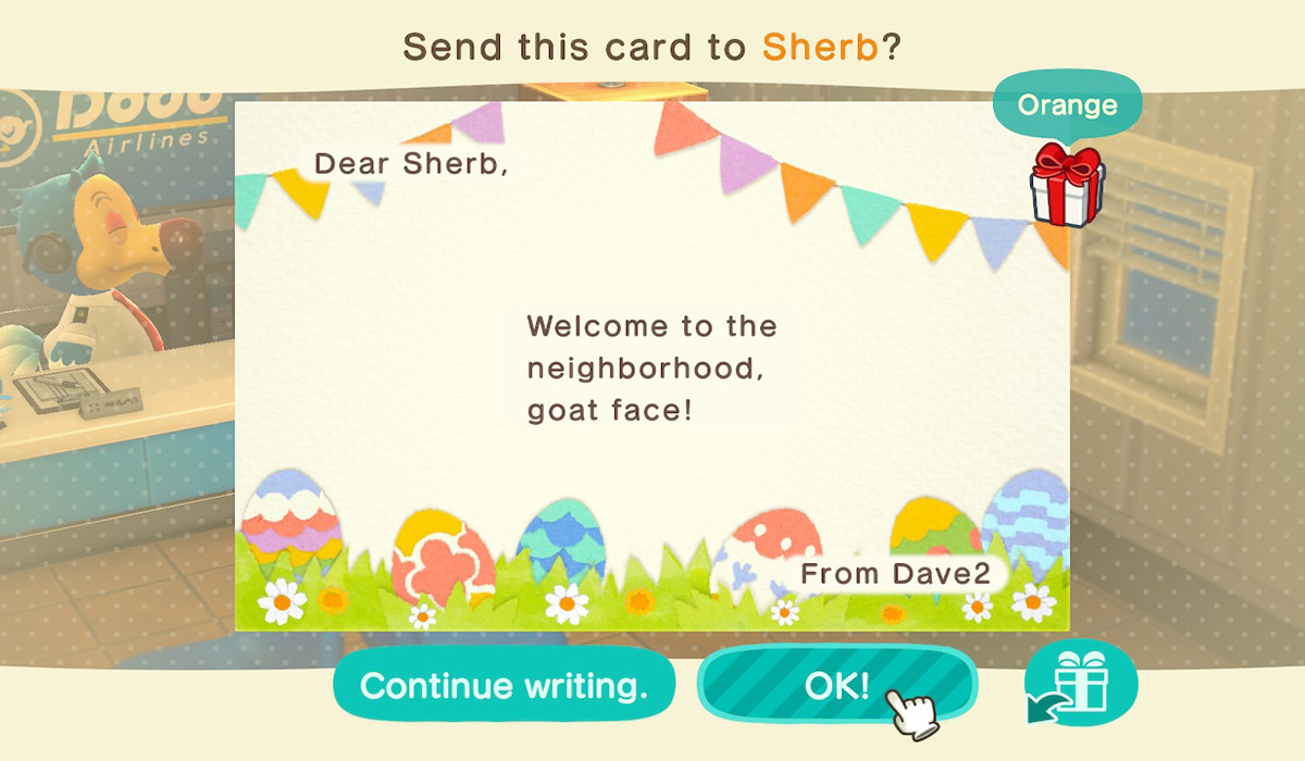 My letter to Sherb which says WELCOME TO THE NEIGHBORHOOD, GOAT FACE!