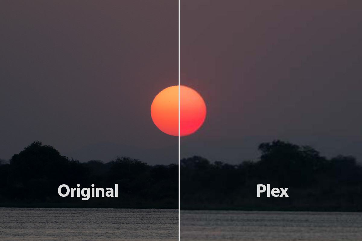 A visual comparison of an original photo of a sunset vs. the version Plex serves up.