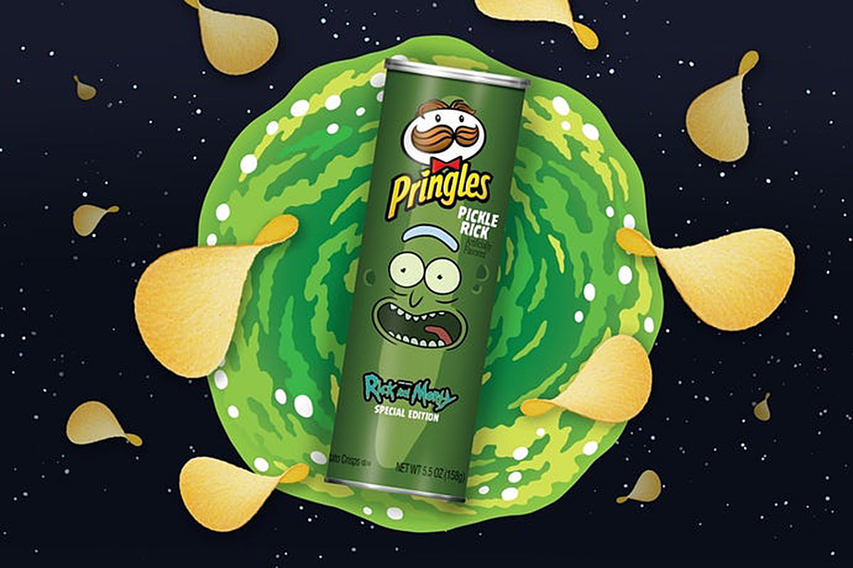 A can of Pringles with Pickle Rick from Rick & Morty on it.
