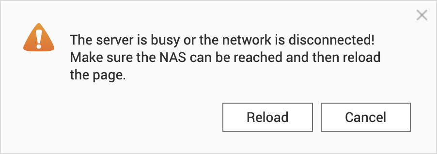 Make sure the NAS can be reached and refresh the page!
