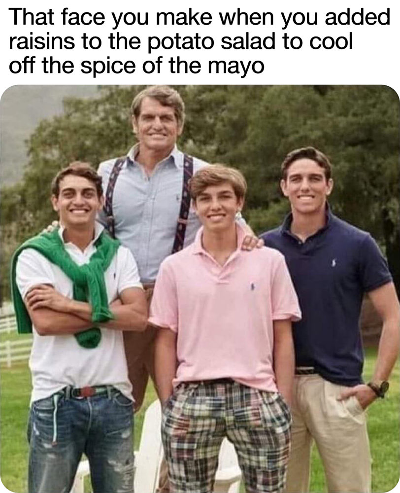 A group of painfully white guys smiling with the saying THAT FACE YOU MAKE WHEN YOU ADDED RAISINS TO THE POTATO SALAD TO COOL OFF THE SPICE OF THE MAYO.