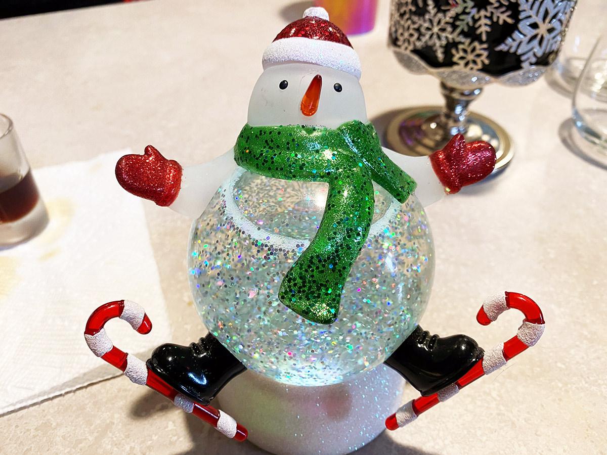 A snowman snow globe.
