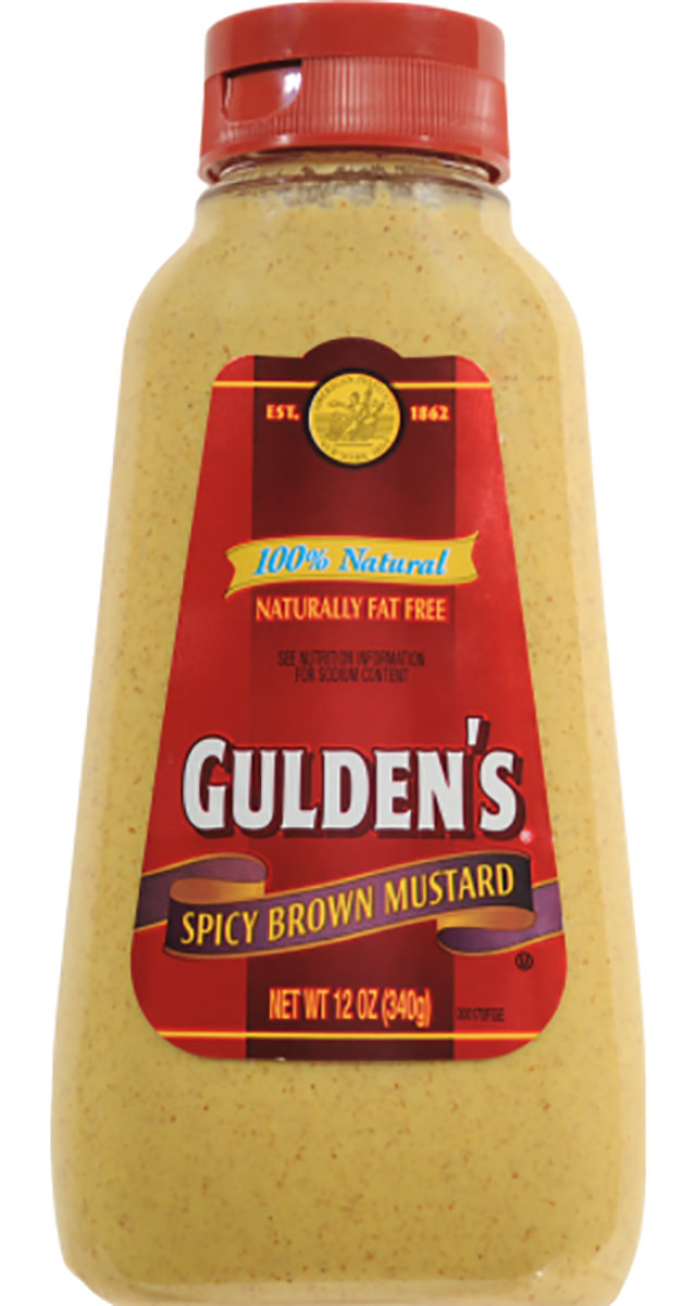 A bottle of Gulden's spicy brown mustard.