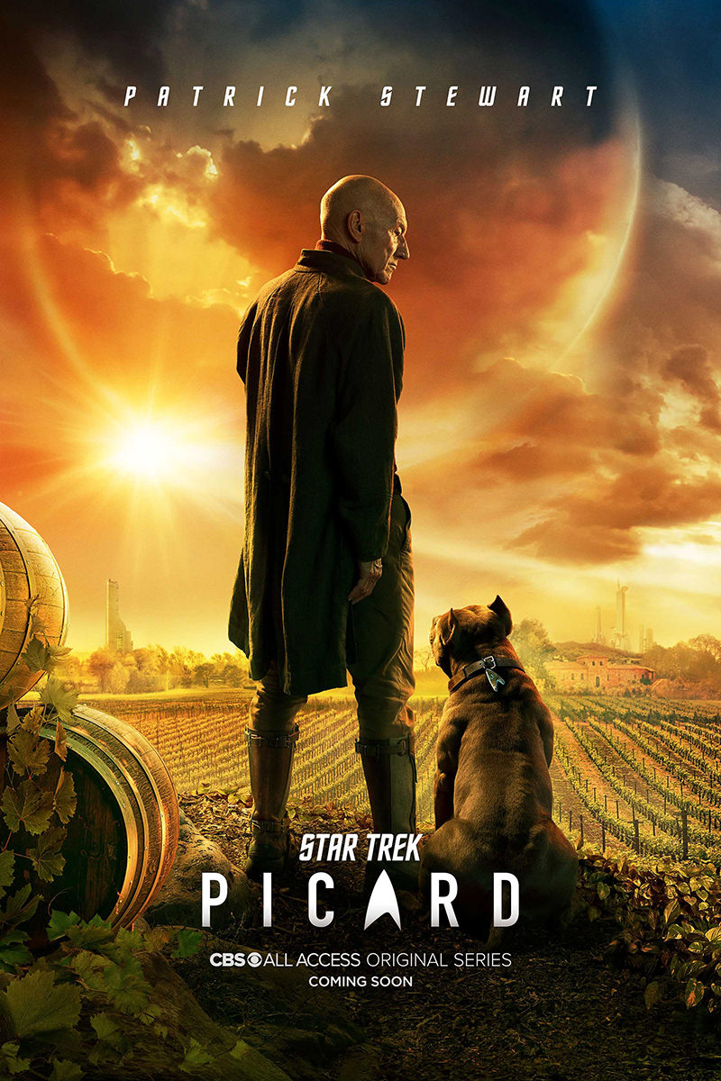 Star Trek: Picard movie poster with Picard at his vineyard with his dog as the sun sets.