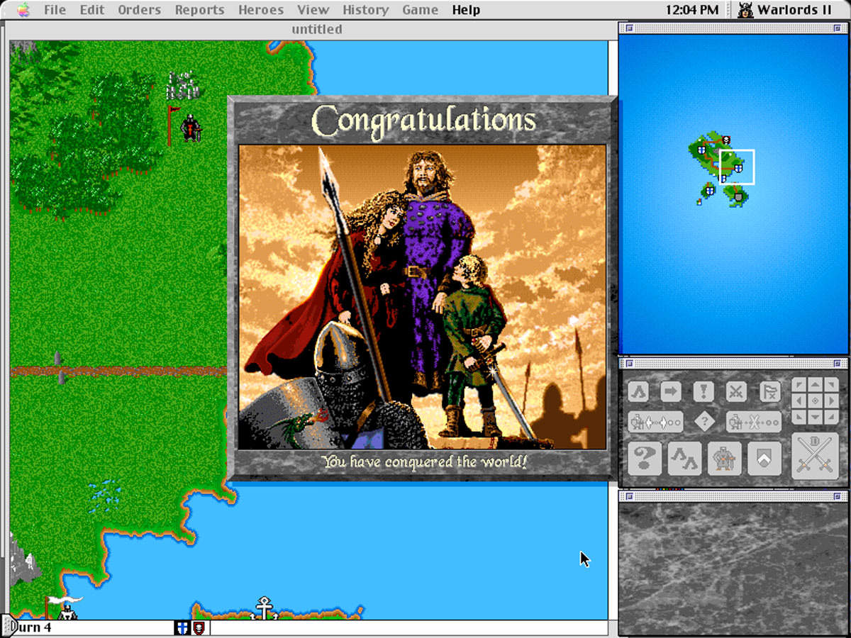 Warlords II playing on an old Mac