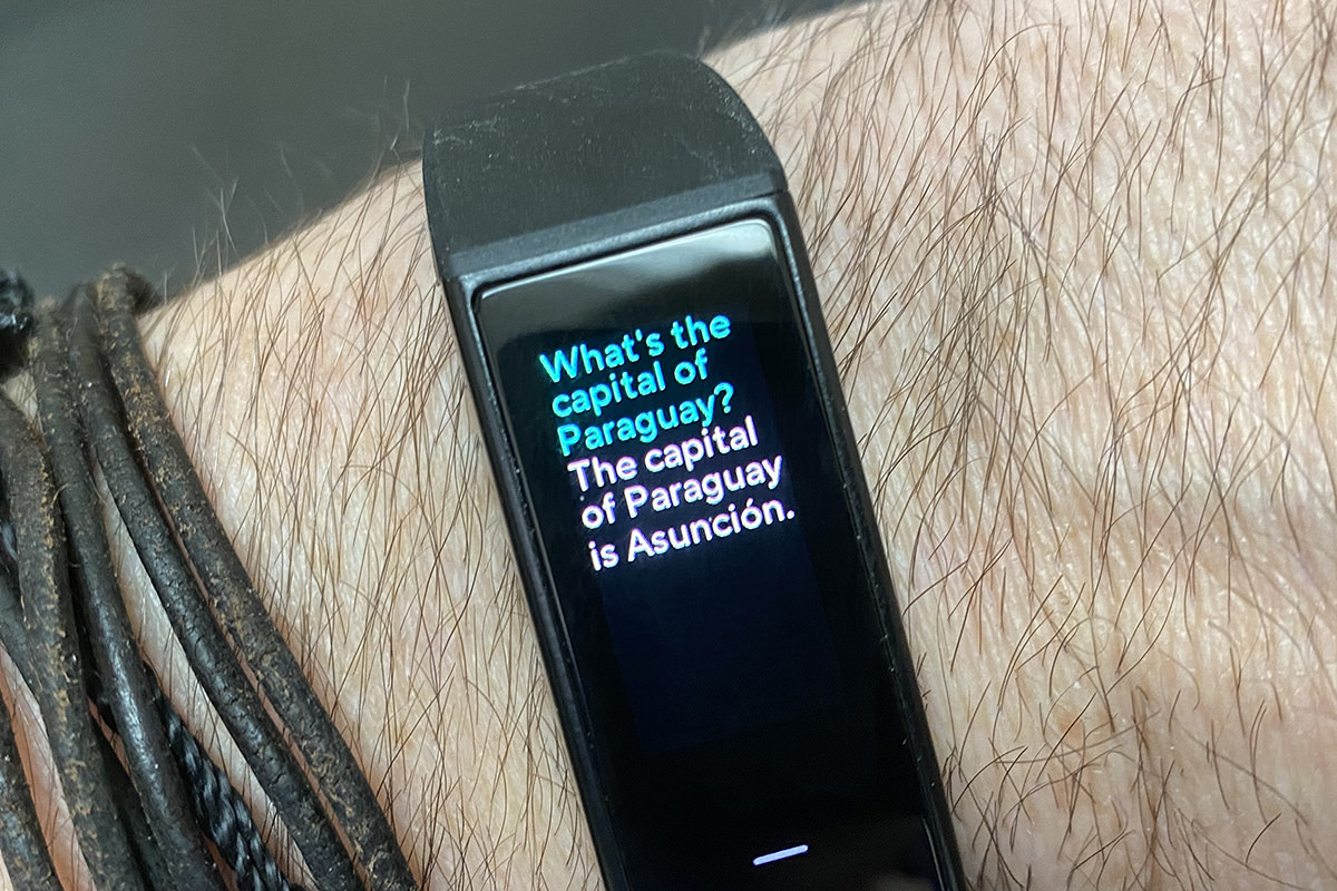 My Wyze Band showing Alexa integration. I asked it WHAT IS THE CAPITAL OF PARAGUAY and it answered with THE CAPITAL OF PARAGUARY IS ASUNCIÓN.