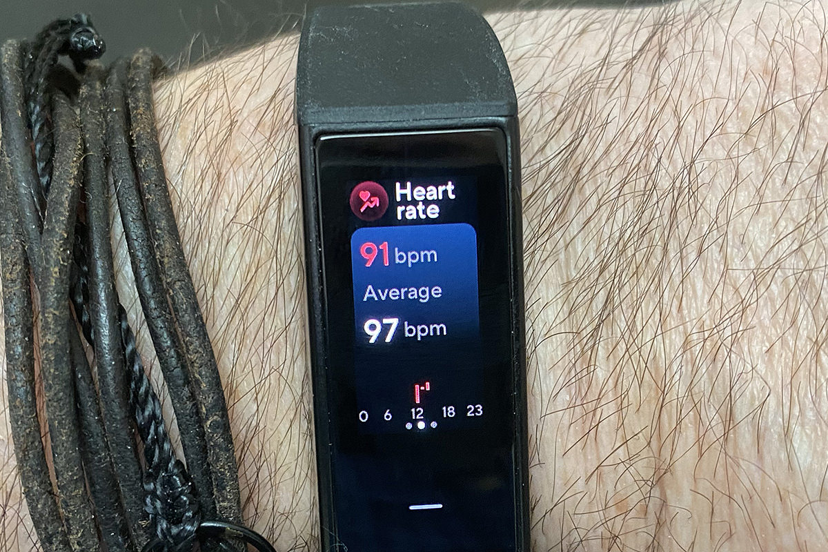 My Wyze Band showing my heart rate data... currently 91bpm, average 97bpm.