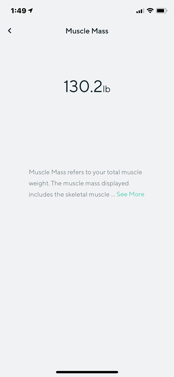 A HUGE blank white screen with a single number for my Muscle Mass floating in the middle... and the text truncated with a 'See More' Link.