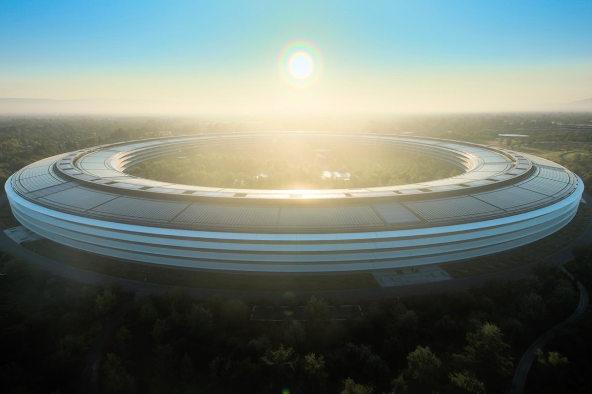 Exterior of the massive Apple HQ building... AKA the Space Donut.